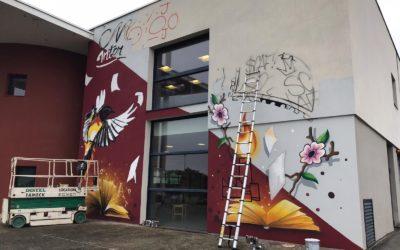 Fresque murale en l'honneur de Jean-Paul Durieux à la Médiathèque intercommunale